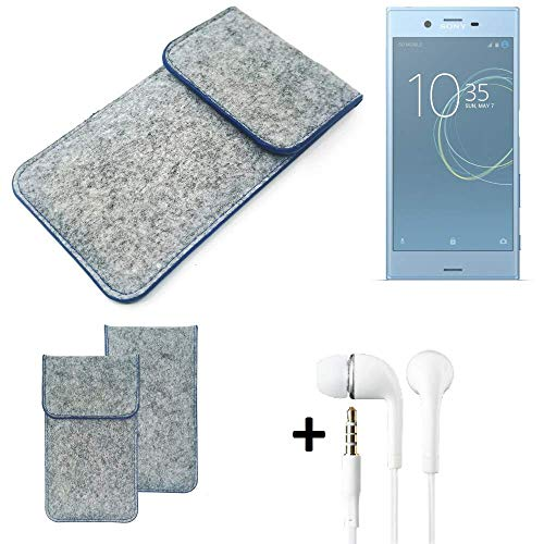 K-S-Trade® Filz Schutz Hülle Für -Sony Xperia XZs Dual SIM- Schutzhülle Filztasche Pouch Tasche Handyhülle Filzhülle Hellgrau, Blauer Rand + Kopfhörer