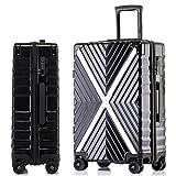 WANLN Gepäck Leichter Hartschalen-Trolley Hochwertiger Hartschalen-Trolley mit 4 drehbaren Rädern und integriertem TSA-Schloss im Gepäckraum,Schwarz,29inch