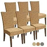 Rattanstuhl-Set Cardine 6 Stück Esszimmer-Stuhl Kissen ohne Sitzkissen, Farbe Basalt grau