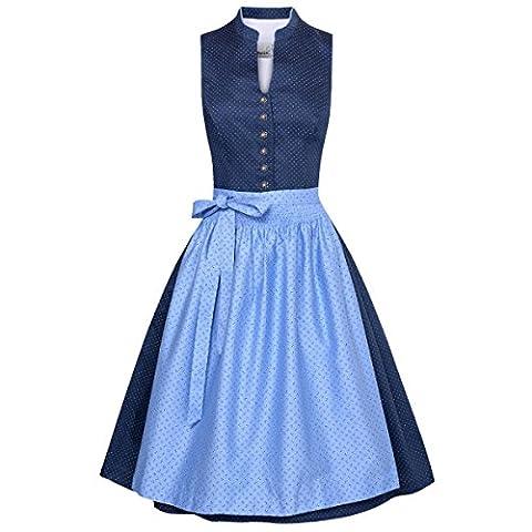 Midi Dirndl Helene in Blau von Marjo Trachten, Größe:38, Farbe:Blau