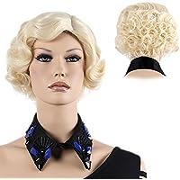 STfantasy peluca rubio corto rizado onda ondulado con capas elegante moda wig para Carnaval Disfraz Fiesta