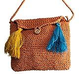 Einzel Baumwolle und Leinen Baumwollfaden Gehäkelt Trümmer Literarische Quaste Weibliche Tasche Größe: 16 * 5 * 13 cm