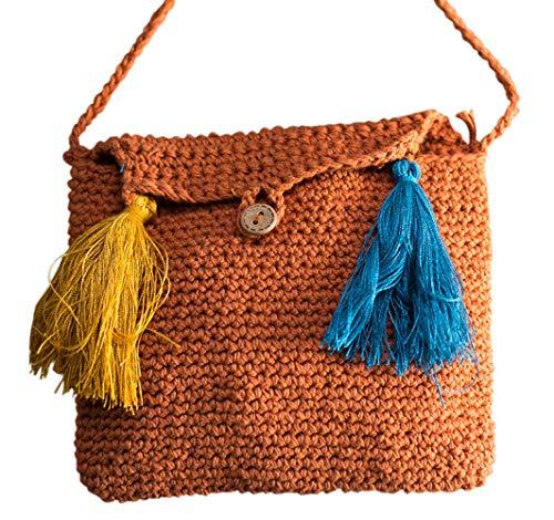 LZH Handtasche, Baumwolle Original Handgemachte Tasche Tragbare Umhängetasche Gehäkelt Weiblichen Beutel Größe: 16 * 5 * 13cm - Gehäkelte Beutel