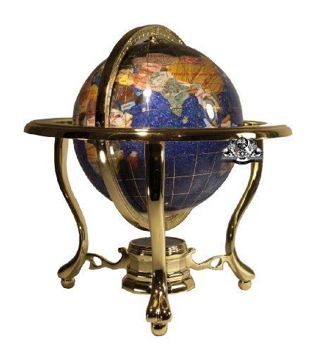 Einzigartige Kunst 25,4cm hoch Tisch Spitze Blau Cristalite Ocean Edelstein World Globe mit Gold Stativ Ständer