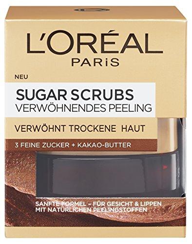 L'Oreal Paris Sugar Scrubs Verwöhnendes Gesichtspeeling, mit Zucker und Kakao-Butter, mildert trockene Hautstellen, 50 ml