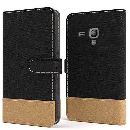 EAZY CASE Tasche für Samsung Galaxy S3 Mini Stoff Schutzhülle mit Standfunktion Klapphülle im Bookstyle, Handytasche Handyhülle Flip Cover mit Magnetverschluss und Kartenfach, Kunstleder, Schwarz