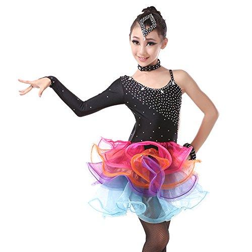 YI WORLD Frauen Tanz Kostüm, Kinder Latin Tanz Kostüm, Baumwolle Quaste Kleid, schwarz + Gold,Black,S (Lyrische Tanz Kostüme 2 Stück)