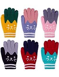 CNNIK 6 pares de guantes cálidos para niños, guantes de gatos lindos, guantes de punto elásticos de invierno, guantes de dedos completos para niños o niñas