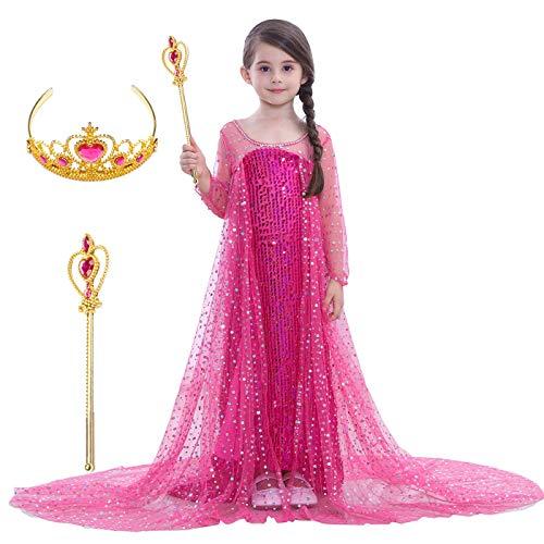 Magogo Mädchen Prinzessin Kleid Kostüm ELSA Kleider Karneval Outfit Party Fancy Rock mit Krone und Zauberstab (M 111-120cm, (Prinzessin Elsa Krönung Kostüm)