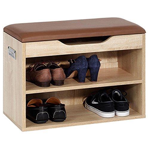 Eiche Schuhschrank (Schuhbank Schuhschrank Sitzbank ZAPATO in Sonoma Eiche mit Sitzkissen und Klappdeckel, 60 cm breit für ca. 6 Paar Schuhe)
