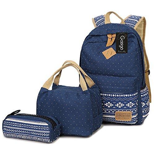 Gazigo Mädchen Rucksack mit Lunchtasche, Schulrucksäcke für Teenager Mädchen, 3-in-1-Rucksack-Sets, Dots Blue (Blau) - 4327759449