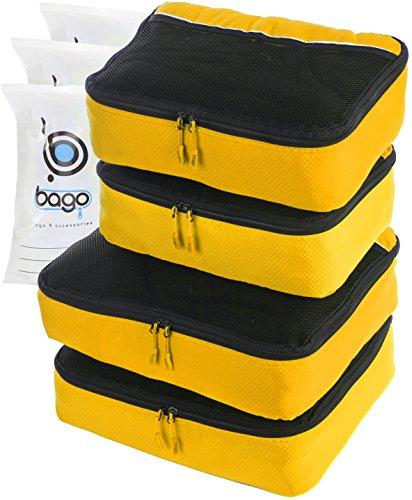 4Pz Bago Cubi Di Imballaggio - Set per Viaggi (2+2-Yellow)+ 6Pz Sacchetti Organizzatori per i bagagli