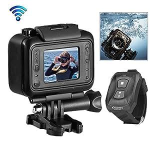 """Discovery® DS100 Noir Edition Caméscope Action Étanche HD 1080p 12 Mpix Wi-Fi Grand-angle 170 degrés avec 1.5 """" LCD écran, 2.4G Télécommande Portée de 60Mètres"""