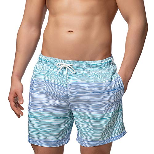 Occulto Badeshort Strips 2-Tone-Colours Blau/Türkis XL