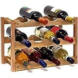 Relaxdays 10019279, Relaxdays 10019279 Weinregal klein 28 x 42,5 x 21 cm Holz Flaschenregal mit 3 Ebenen für 12 Flaschen Wein kleiner Weinflaschenhalter aus Walnuss geölt zur waagerechten Lagerung, natürlich