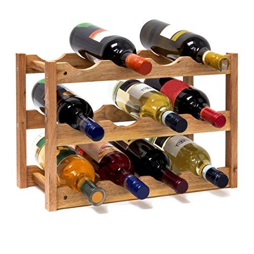 Este soporte puede almacenar a 12 botellas de sus mejores vinos. Las botellas están acomodadas horizontalmente en los titulares de los travesaños. Los corchos permaceneran húmedos, mientras que la botella está herméticamente sellado.La madera de noga...