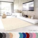 Shaggy-Teppich | Flauschiger Hochflor fürs Wohnzimmer, Schlafzimmer oder Kinderzimmer | einfarbig, schadstoffgeprüft, allergikergeeignet in Farbe: Creme; Größe: 120 cm rund