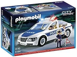 Playmobil 5184 - Jeu de Construction - Voiture de Police avec Lumières Clignotantes