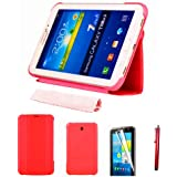 "HOTSALEUK Samsung Galaxy Tab 3 7.0 7-inch Leather Case Cover and Flip Stand, Bonus: Screen Protector + Stylus Pen (for Galaxy Tab 3 7"" INCH P3200/ P3210, WiFi or 3G+WiFi), by hotasleuk Store®, Seller of Best Selling Galaxy Tab 2 7-inch Case (RED)"