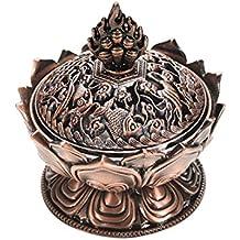 Lotus tibetana Diseñado aleación de bronce del arte del quemador de incienso de bronce mini decoración del hogar