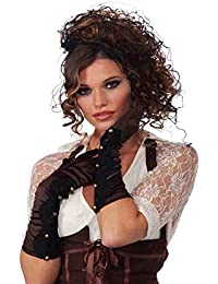 Long Brown Steampunk Costume Gloves With Gold Button Detail