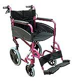Aidapt VA170PINK Kompakter Transport-Rollstuhl aus Aluminium. deep pink