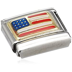 Nomination Composable Classic AMERIKA Edelstahl, Email und 18K-Gold (USA) 030235