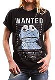 Lustiges Damen Oversize Shirt mit Aufdruck - Wanted - locker und lässig geschnitten Cookie Monster schwarz Größe M