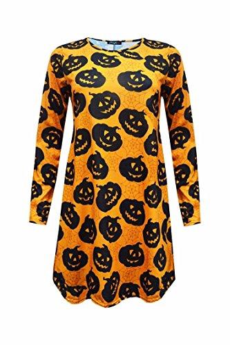 Damen Halloween gedrucktes Kleid für Swing Night & Dress Up-Partei-Abnutzung Schwarz Kürbis-Druck
