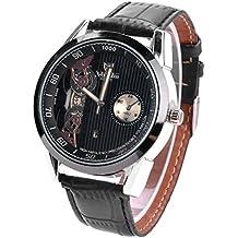 valia 8236-1 Hombre de moda Cuero analogico Esqueleto deportivo Reloj de pulsera de cuarzo Negro