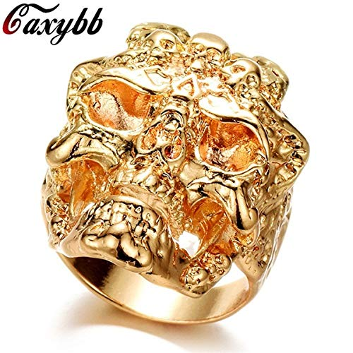 t Gold/Silver Color Stainless Steel Men Ring Cool Dragon Skull Hip Hop Rings for Man Vintage Punk Fashion Jewelry-Gold,12 ()