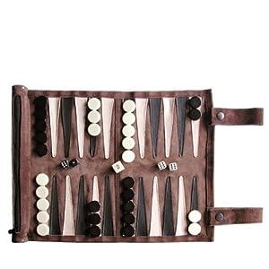 SONDERGUT - Backgammon - Echtleder Backgammon - Reise Backgammon - Farbe: Mocca