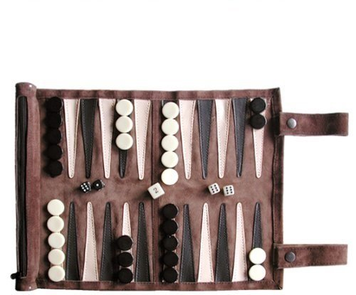 SONDERGUT - Backgammon de viaje en piel natural de alta calidad - color mocca