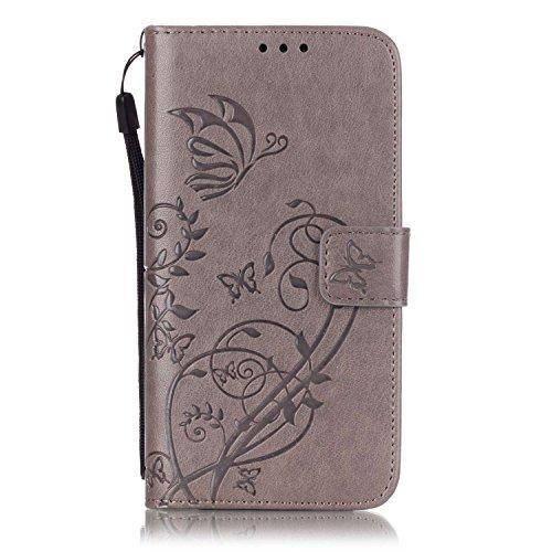 Prägen Blumen-Case, Magnetverschluss Synthetische PU-Leder-Kasten-Abdeckung mit hängenden Seil und Wallet-Funktion für Samsung S6 ( Color : Pink , Size : Samsung S6 ) Gray