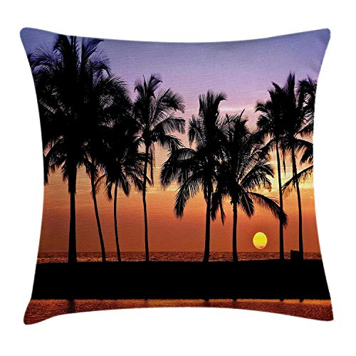 Bay Islands Resort (DPASIi Hawaiian Throw Pillow Cushion Cover, Hawaiian Sunset on Big Island Anaehoomalu Bay Ocean Romantic Resort, Decorative Square Accent Pillow Case,Lilac Dark Orange Black 16x16inch)
