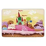 FAFANIQ Bathroom Bath Rug Kitchen Floor Mat Carpet,Cartoon Decor,Kids Sweet Castle Landscape with Donuts Muffins Ice Cream Nursery Image,Sand Brown Pink,Flannel Microfiber Non-Slip Soft Absorbent