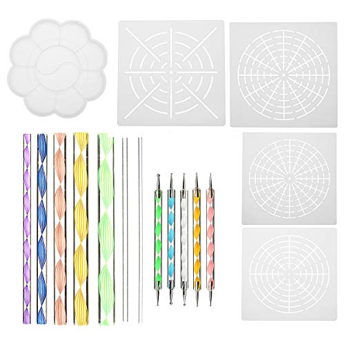 ChaRLes 18 Stücke/Set Mandala Dotting Werkzeuge Rock Malerei Kits Dot Nail Art Pen Farbe Diamant Gemälde Werkzeug (Paint 12 Tray)