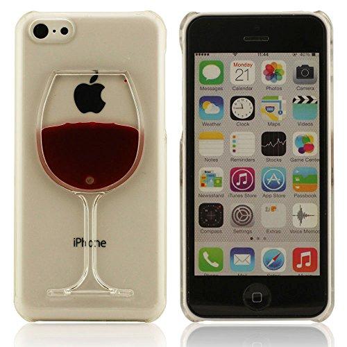 Joli Charmant Mini Cristal Vin Tasse Transparent Coque Case Cover pour iPhone 5C Coulant Liquide Eau Rigide Dur Mince Poids Léger iPhone 5C Housse étui de protection B