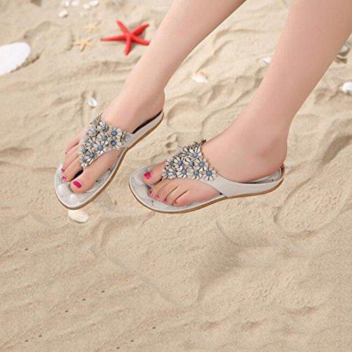 Cailin Sandals, Rose / White Flat slippers flip flops Sandales de plage (31-45) ( Couleur : Blanc , taille : EU40/UK7/CN41 ) Blanc