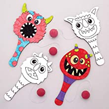 Baker Ross AW779 Monster Bunch Colour in Paddle Ball and Bat (Pack of 5) -Spooky Arts and Crafts for Halloween, Black & White