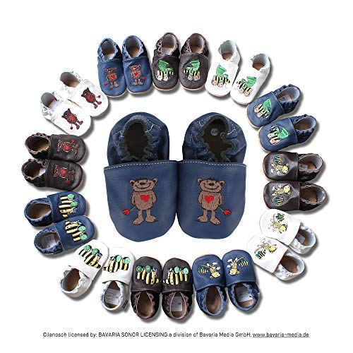 HOBEA-Germany Krabbelschuhe Design: Janosch Bär, Größe Schuhe:24/25 (24-30 Mon), Uni Schuhe:blau