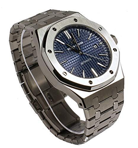 Sportlich Elegante Herren Automatik Uhr, Saphirglas, massives Armband, Miyota Uhrwerk, Didun Royal One Silber/Blau (Automatik Herren Uhr)