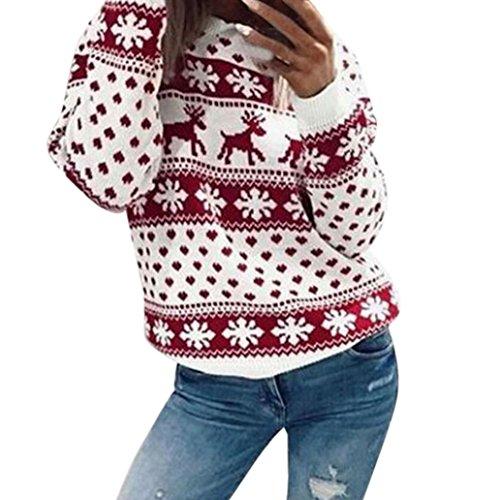 Manadlian Femme Sweat Blouse Noël Top à manches longues imprimé floral Rouge