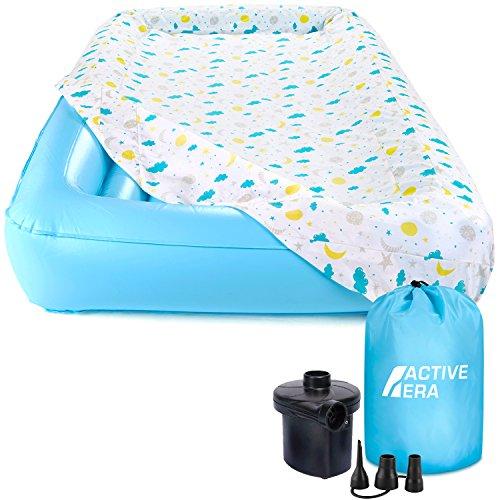 Kinder-Luftbett mit Matratzenauflage aus 100 % Baumwolle, Elektrischer Pumpe und Tragetasche