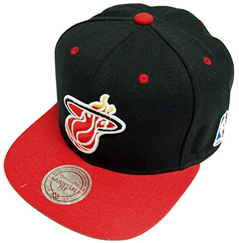 Mitchell & Ness - Casquette Snapback Homme Miami Heat Black Logo 2 Tone