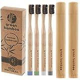 Vert Bambou - Bambou Bio Brosse à dents + 2 trousses avec Medium Noir charbon de bois imprégné Poils et étui de voyage | 100% écologique et biodégradable | Vegan, bio et Panda Friendly | sans BPA Lot de 4 brosses à dents