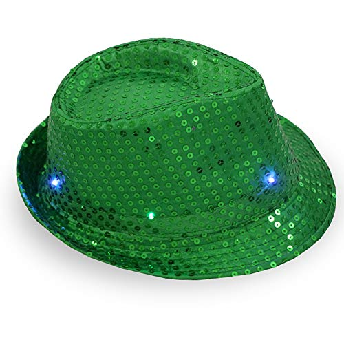 CHuangQi Blinkender LED-Fedora-Hut, helle beleuchtete beleuchtete Pailletten-Jazz-Kappe für Unisex Erwachsene Party Dress ()