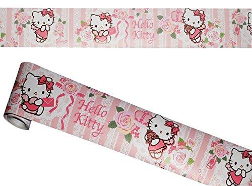 """Preisvergleich Produktbild Wandbordüre - selbstklebend - """" Hello Kitty - Blumen """" - 5 m - Wandsticker / Wandtattoo - Bordüre Aufkleber Kinderzimmer - für Kinder Mädchen / Baby Borte - Wandborte - Borten - Tapetenbordüre / selbstklebende - Wandbordüren - Bordüren"""
