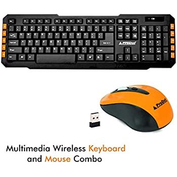 9f679c17429 ProDot TLC-107+145 2.4Ghz Multimedia Wireless Keyboard and Mouse Combo  Compact and Portable for PC, Laptop, Desktop, Android TV and Smart TV (Peel  Orange)