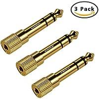 Adaptador de Auriculares TriLink, Pack de 3 Adaptadores de Audio [Cobre puro chapado en oro ] Conector Estéreo de 3,5 mm Macho a 6,35 mm Estéreo Hembra - Dorado